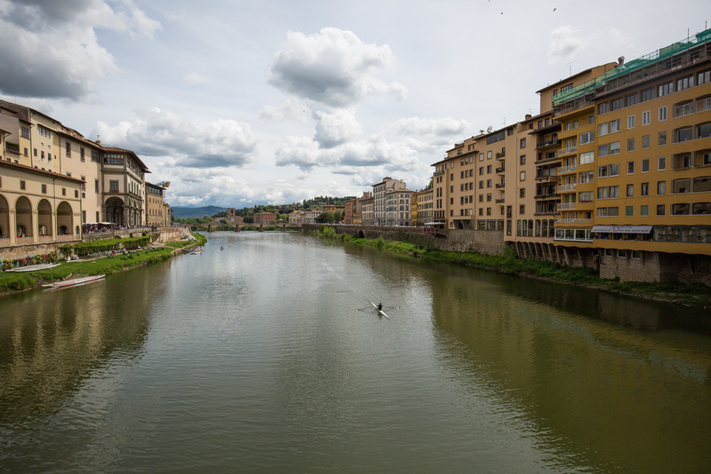 A view up the Arno river from atop Ponte Vecchio.