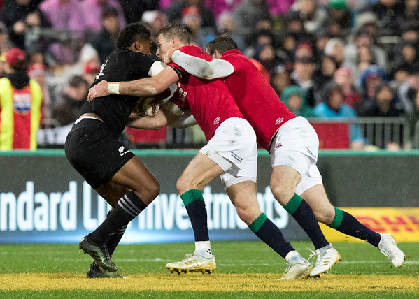 Waisake Naholo gang tackled during game 9 of the British and Irish Lions 2017 Tour of New Zealand, the second Test match between  The All Blacks and British and Irish Lions, Westpac Stadium, Wellington, Saturday 1st July 2017 (Photo by Kevin Booth Steve Haag Sports)  Images for social media must have consent from Steve Haag