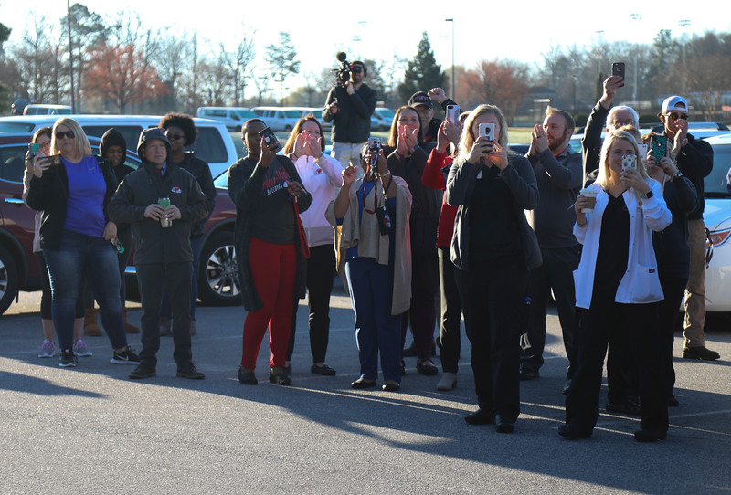 Gardner-Webb University Men's Basketball heading to Columbia, SC for their first game against Virginia. Fellow community members, students and faculty showed support upon departure.
