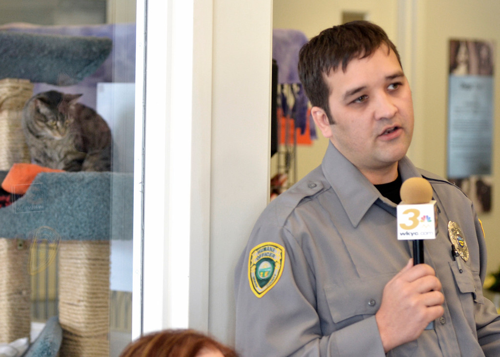 . Jeff Forman/JForman@News-Herald.com Christian Courtwright, chief humane agent of the Geauga County Humane Society, discusses the proposed expansion of Rescue Village Feb. 26 during a presentation at the shelter.