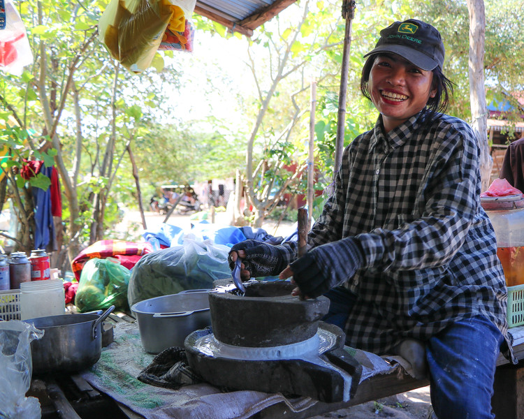 Grinding coconut