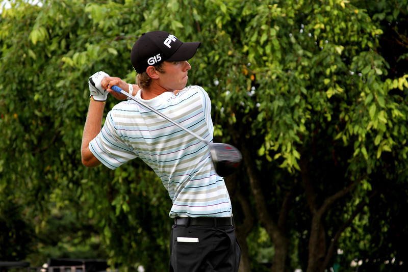 Stroke play medalist Chris Williams, 20, of Moscow, Idaho, tees off in his Friday morning match against No. 1 ranked Amateur Patrick Cantlay.