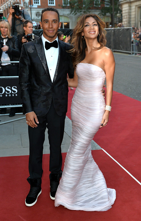 . Lewis Hamilton and Nicole Scherzinger attend the GQ Men of the Year awards at The Royal Opera House on September 2, 2014 in London, England.  (Photo by Anthony Harvey/Getty Images)