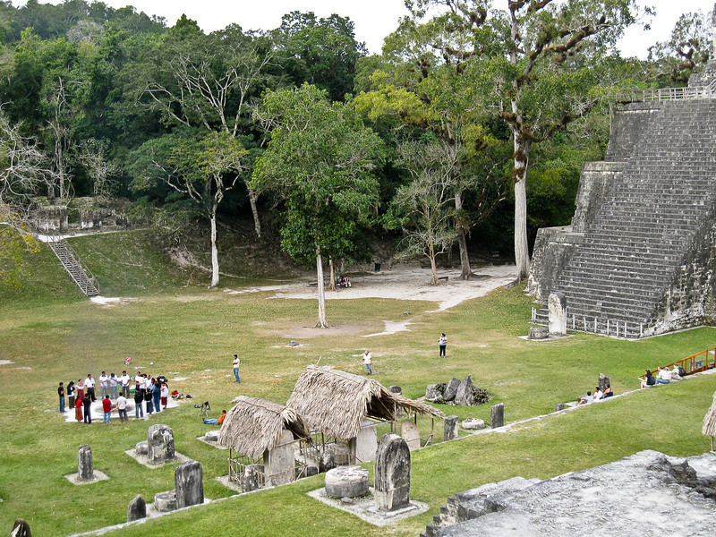 A Maya ritual being performed at Tikal