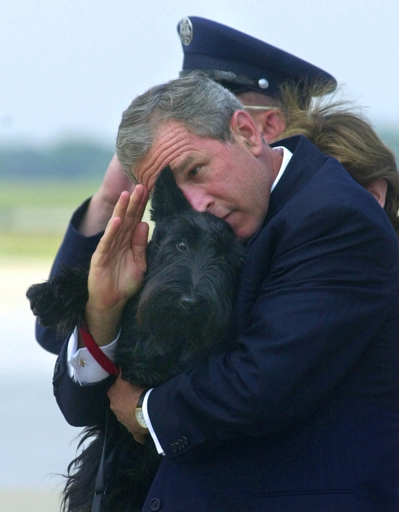 Description of . President Bush does his best to salute while holding his dog Barney as they get off of Air Force One at Andrews Air Force Base, Md., Monday, June 25, 2001. Bush spent the afternoon in Detroit for the annual U.S. Conference of Mayors where he called on the mayors support for more faith-based initiatives. (AP Photo/Susan Walsh)