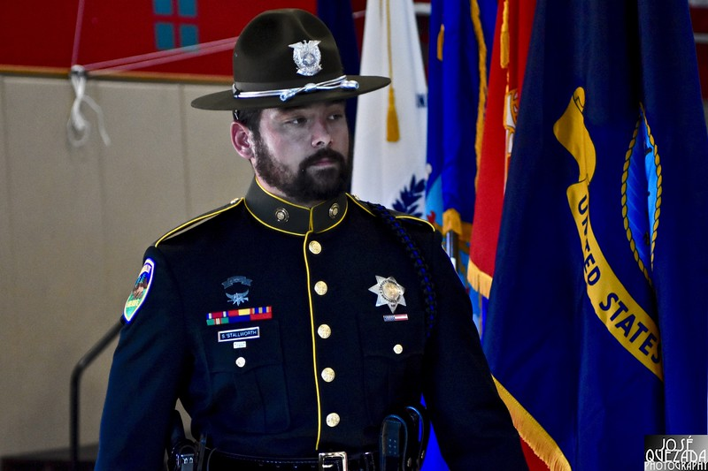 Humboldt County Sheriff Deputy Spellman Stallworth moments after assisting with the military branch color guard.