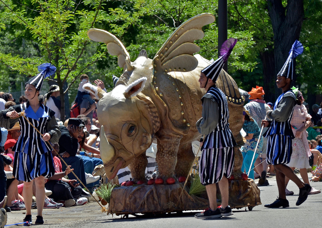 . Jeff Forman/JForman@News-Herald.com Robin Van Lear\'s sculpted rhinoceros reprises its role from the first parade to lead the Cleveland Museum of Art 25th annual Parade the Circle June 14 in University Circle.