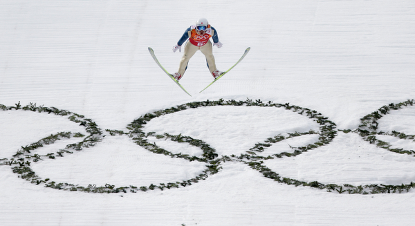 . Japan\'s Akito Watabe makes his attempt during the ski jumping portion of the Nordic combined Gundersen large hill team competition at the 2014 Winter Olympics, Thursday, Feb. 20, 2014, in Krasnaya Polyana, Russia. (AP Photo/Matthias Schrader)