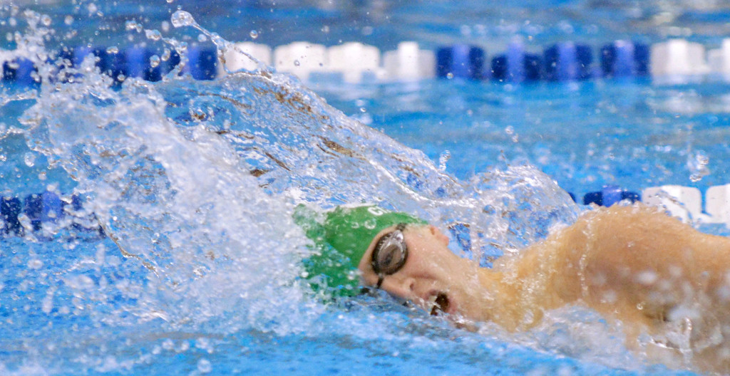 . Jeff Forman/JForman@News-Herald.com Justin Ciferno, Mayfield, wins his heat of the boys 200 yard freestyle Saturday at the Division I sectional swim meet at Squire Institute.