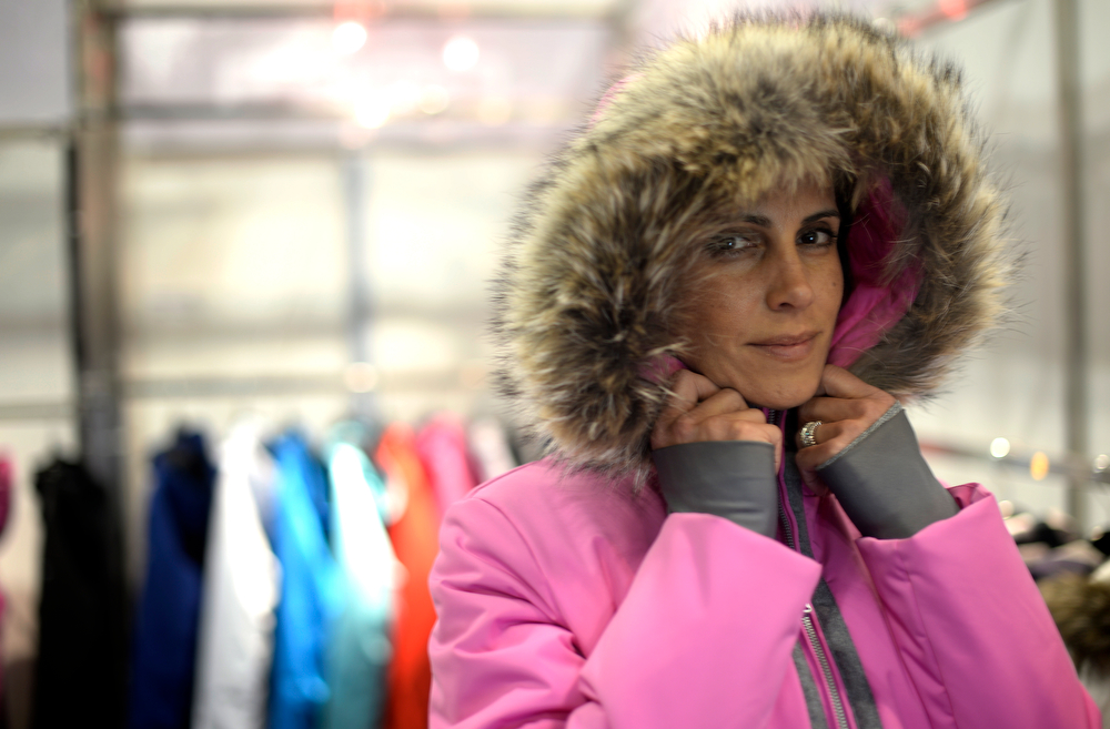 . Detail of model in a Fera jacket during a visit to the Snowsports Industries America  Snow Show at the Colorado Convention Center in Denver on Thursday, January 30, 2014. (Denver Post Photo by Cyrus McCrimmon)