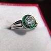 1.30ctw Old European Cut Diamond Emerald Target Ring 17