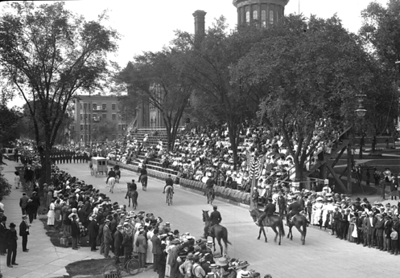 Knights of Pythias parade passing court house square  Date: ca. 1910  Portfolio: Milwaukee