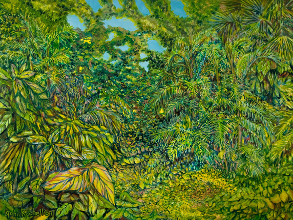 """©John Rachell  Title: The Garden, April 29, 2007 Image Size: 48"""" w by 36"""" d Dated: 2007 Medium and Support: Oil Paint on canvas Signed: LL Signature"""