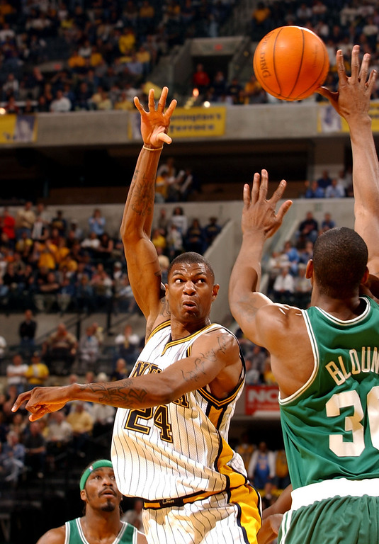 . 1999: Jonathan Bender (No. 5) Forward Jonathan Bender #24 of the Indiana Pacers passes the ball over center Mark Blount #30 of the Boston Celtics during game 2 of the Eastern Conference Quarterfinals of the 2004 NBA Playoffs on April 29, 2004 at the Conseco Fieldhouse in Indianapolis, Indiana. The Pacers defeated the Celtics 103-90. (Photo by Jonathan Daniel/Getty Images)