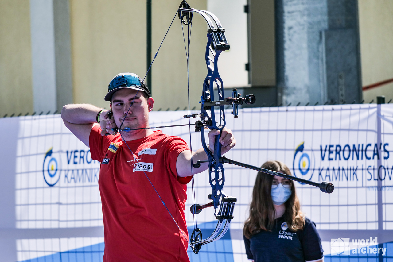 Nico Wiener shoots during finals at the 2021 Veronica's cup in Kamnik, Slovenia.