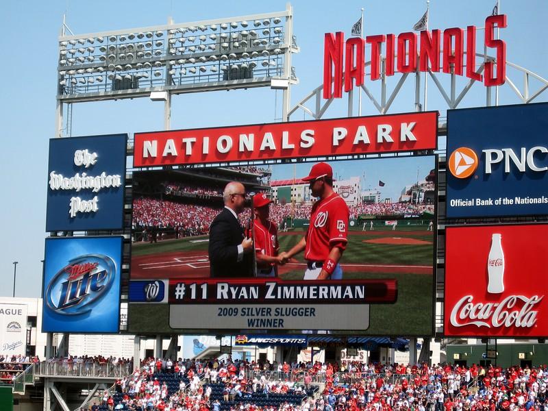 Nationals third baseman Ryan Zimmerman receives the 2009 Silver Slugger Award