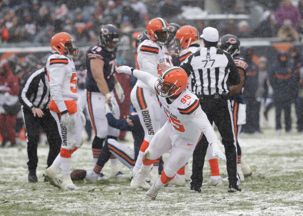 . Cleveland Browns defensive end Myles Garrett (95) celebrates a sack against the Chicago Bears in the first half of an NFL football game in Chicago, Sunday, Dec. 24, 2017. (AP Photo/Charles Rex Arbogast)