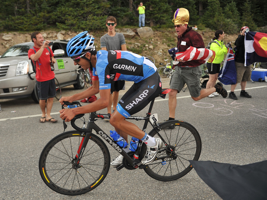 . Lachlan David Morton (AUS) of Team Garmin-Sharp powers his way up Hoosier Pass during the second stage of 2013 USA Pro Challenge race. Morton finished the stage as second place but is the current race leader.(Photo By Hyoung Chang/The Denver Post)