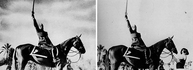 . 1942:  In order to create a more heroic portrait of himself, Benito Mussolini had the horse handler removed from the original photograph.  SOURCE: http://www.cs.dartmouth.edu/farid/research/digitaltampering/