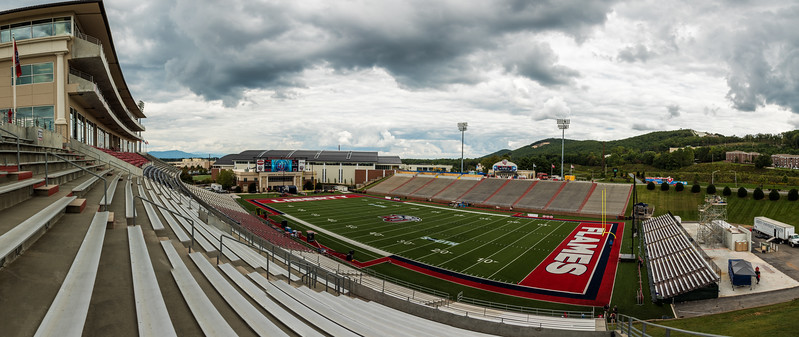 A 7 photo panorama of Williams Stadium the home of the Liberty Flames