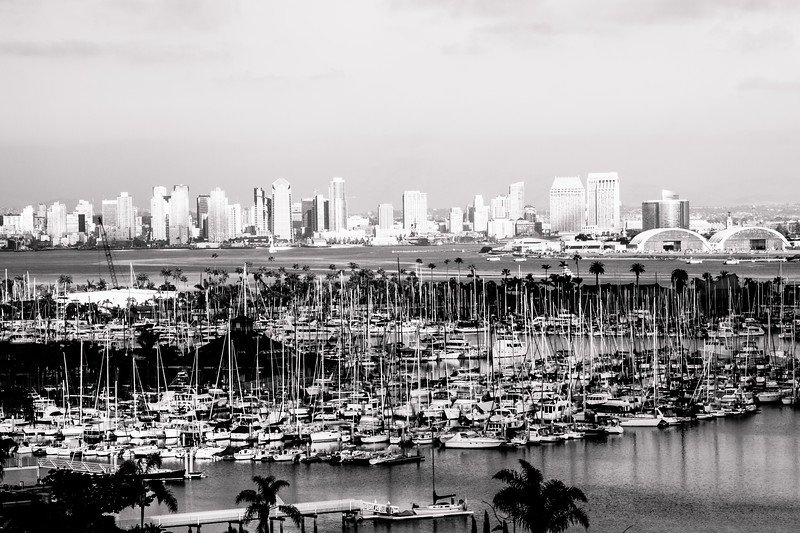Downtown San Diego from Point Loma with the San Diego Yacht Club