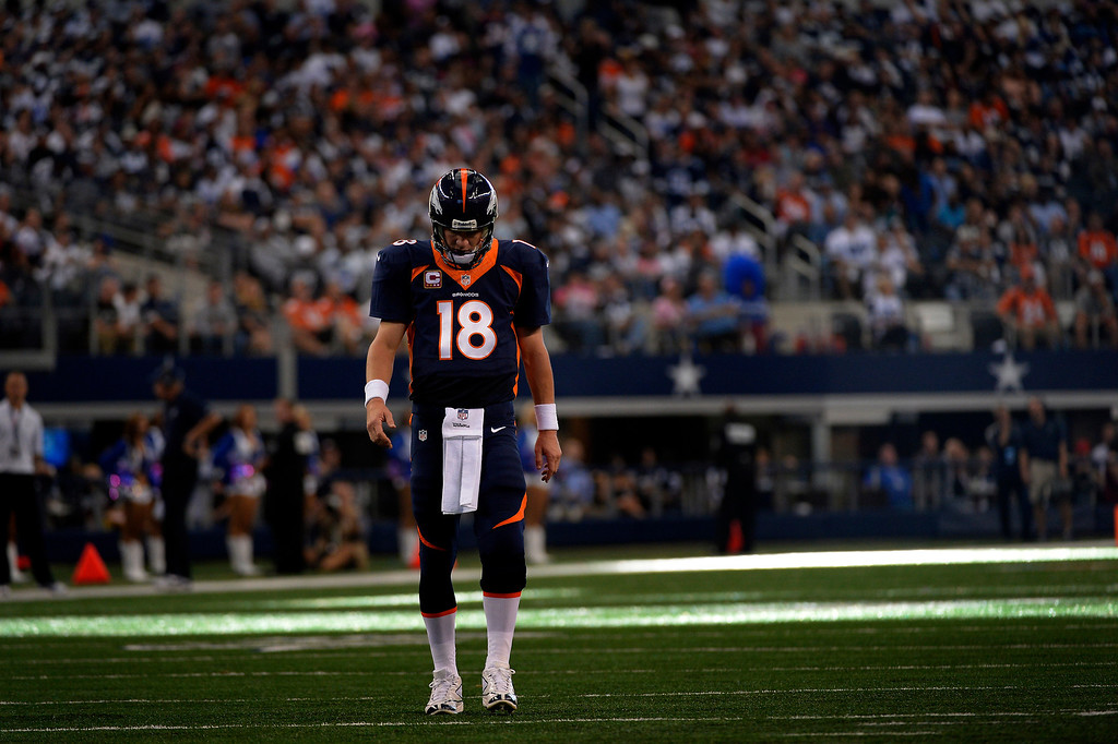 . ARLINGTON, TX. - October 06: quarterback Peyton Manning #18 of the Denver Broncos in the 3rd quarter vs the Dallas Cowboys in game 5 at AT&T Stadium October 06, 2013 Arlington, Texas. (Photo By Joe Amon/The Denver Post)