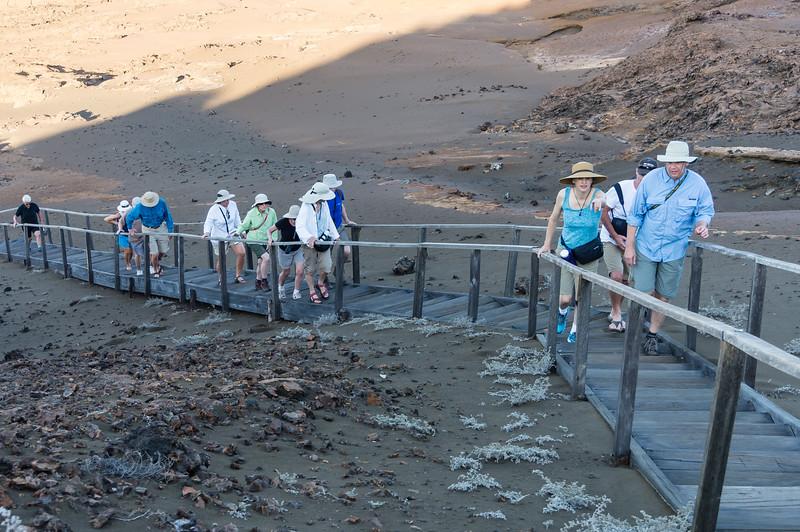 Group climbing stairs on Bartolomé Island