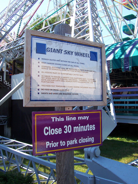 A new sign at the Giant Sky Wheel.