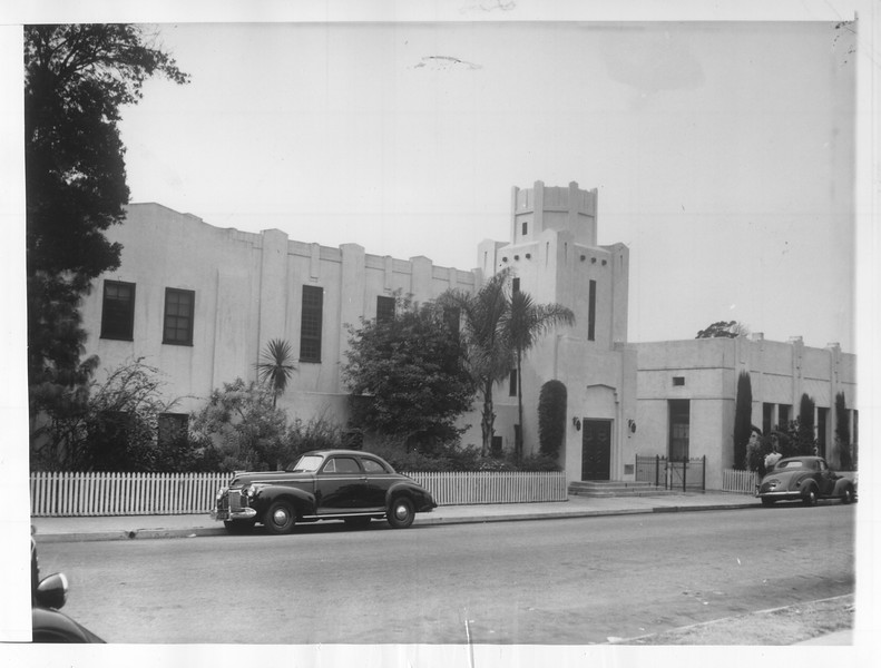 """""""The Japanese Christian Church of Los Angeles, where Japanese kindergarten classes are held.""""--caption on photograph"""