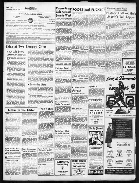 Daily Trojan, Vol. 38, No. 74, February 13, 1947