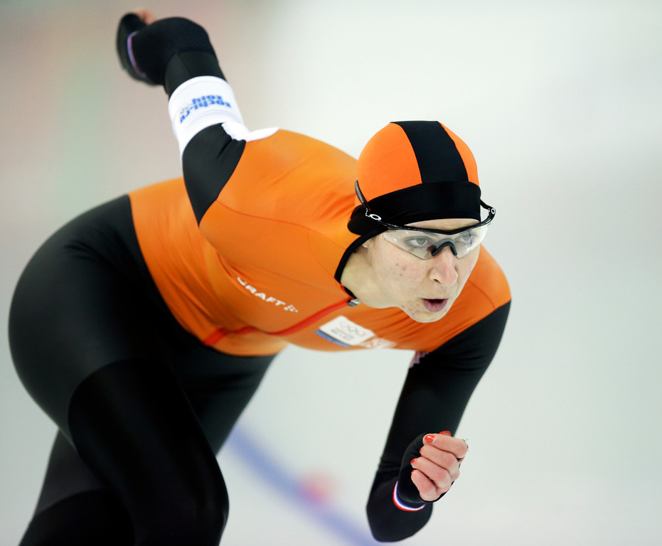 . Bronze medalist Margot Boer of the Netherlands competes in the second heat of the women\'s 500-meter speed skating race at the Adler Arena Skating Center during the 2014 Winter Olympics, Tuesday, Feb. 11, 2014, in Sochi, Russia. (AP Photo/Pavel Golovkin)