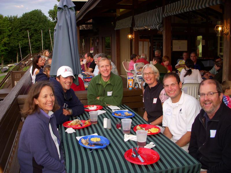 'Off the lake' sailors eating dinner at the Deep Creek Yacht Club. Ellen Thomas, Quin Tobin, Bob Danforth, Liz Hancock, Jon Deutsch and Robert.