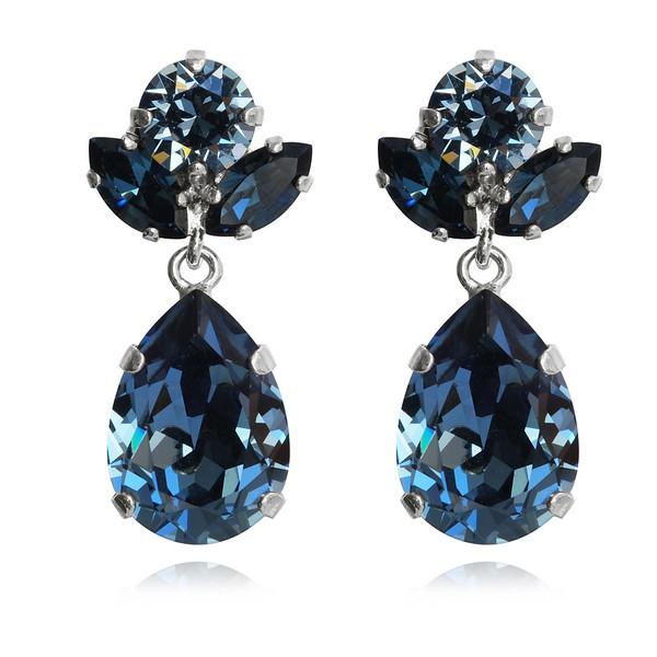 Isadora Earrings / Denim Blue + Montana / Rhodium