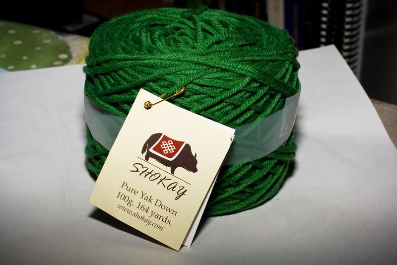 Beautiful soft green yak fiber.