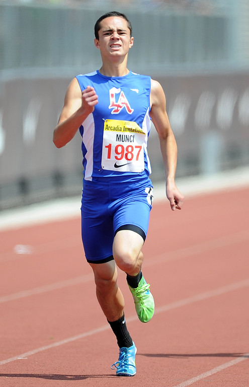 . Los Altos Hunter Munci competes in the 400 meters race in the during the Arcadia Invitational at Arcadia High School on Saturday, April 6, 2013 in Arcadia, Calif.  (Keith Birmingham Pasadena Star-News)