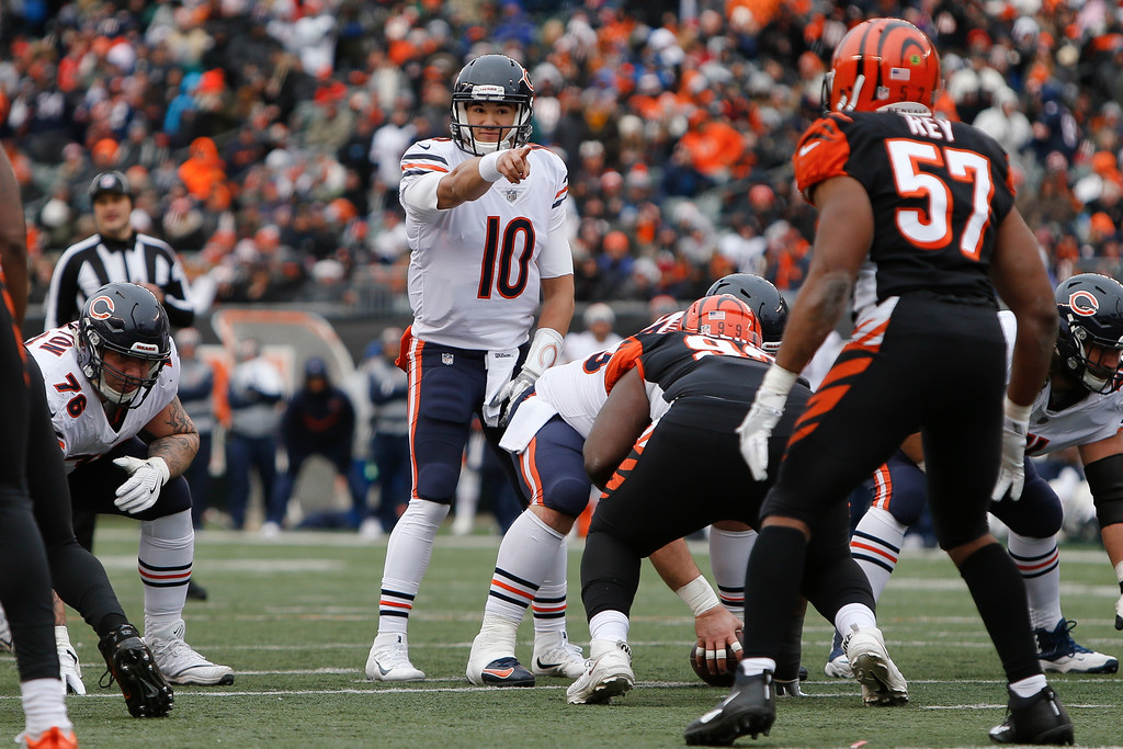 . Chicago Bears quarterback Mitchell Trubisky (10) directs his players before the snap in the first half of an NFL football game against the Cincinnati Bengals, Sunday, Dec. 10, 2017, in Cincinnati. (AP Photo/Frank Victores)