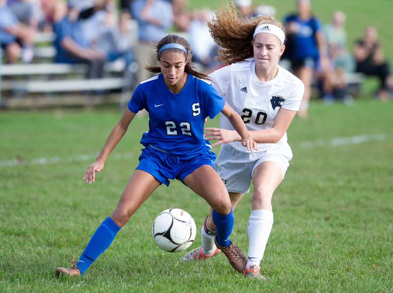10/09/18  Wesley Bunnell | Staff  Southington girls soccer defeated Platt at home on Tuesday afternoon. Morgan Hubert (22) and Julia Misner (20).