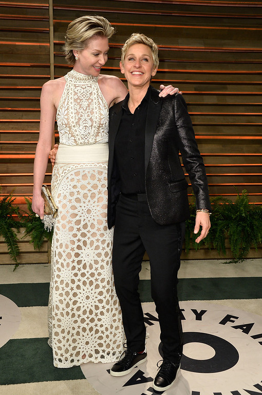 . Actress Portia de Rossi (L) and TV personality Ellen DeGeneres attend the 2014 Vanity Fair Oscar Party hosted by Graydon Carter on March 2, 2014 in West Hollywood, California.  (Photo by Pascal Le Segretain/Getty Images)