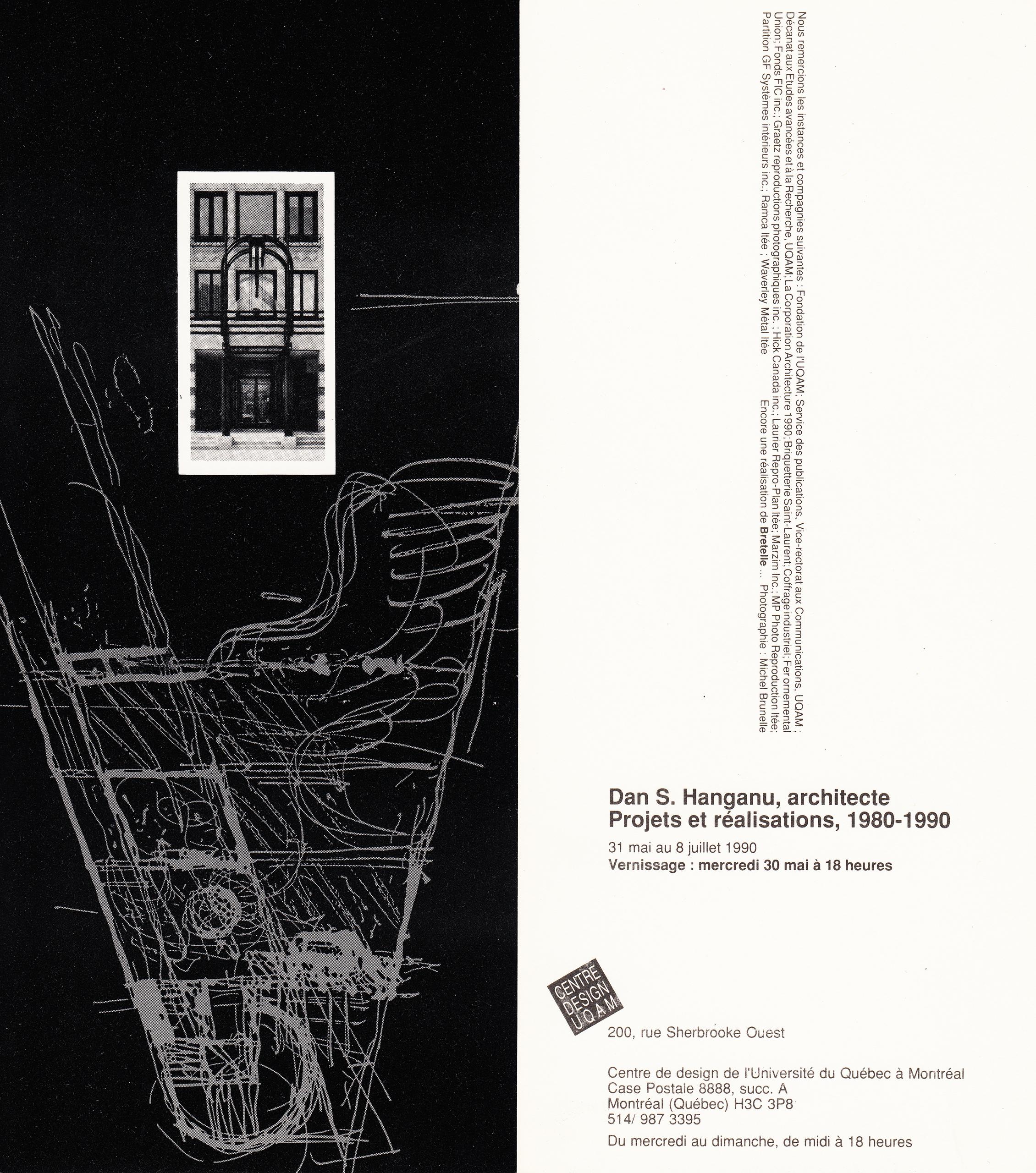 1990 - Exposition - Architecte du Québec Dan S Hanganu Projets et réalisations 1980-1990