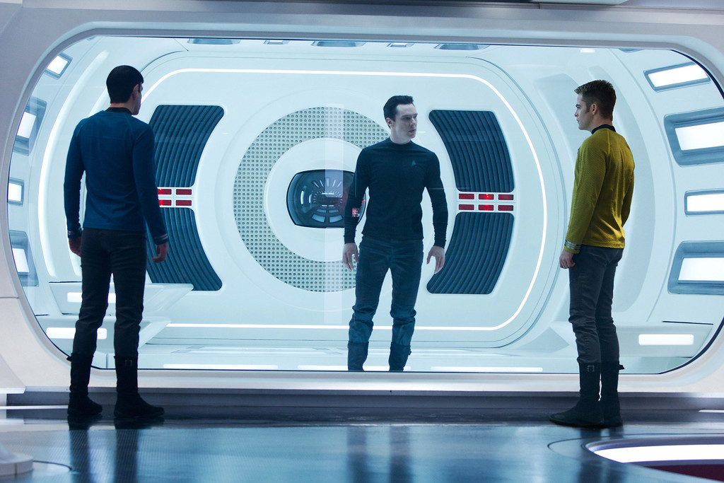 """. This  publicity film image released by Paramount Pictures shows, from left, Zachary Quinto, as Spock, Benedict Cumberbatch as John Harrison, and Chris Pine as Kirk, in a scene in the film, \""""Star Trek Into Darkness,\"""" from Paramount Pictures and Skydance Productions. \""""Star Trek Into Darkness\"""" was one of several upcoming films to receive spotlight treatment with an ad that aired during Super Bowl XLVII on Sunday, Feb. 3, 2013. (AP Photo/Paramount Pictures, Zade Rosenthal, File)"""