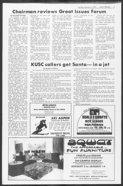 Daily Trojan, Vol. 64, No. 61, January 11, 1972