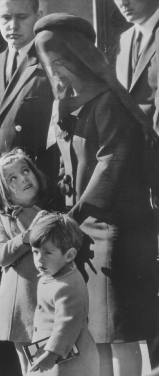 . Jacqueline Kennedy, with Caroline and John Jr., at the funeral. Associated Press file