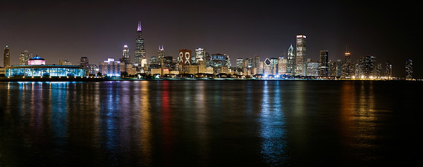Chicago skyline in October which is Breast Cancer awareness month.  Available for purchase