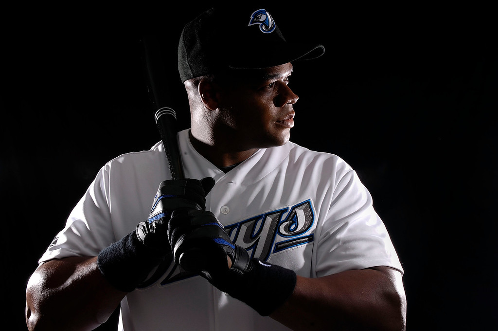 . Infielder Frank Thomas #35 of the Toronto Blue Jays poses for a photo on media day during spring training at the Bobboy Mattix Traing Center February 22, 2008 in Dunedin, Florida.  (Photo by Marc Serota/Getty Images)