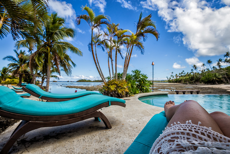 Lina Stock of Divergent Travelers Adventure Travel Blog at a luxury resort in Fiji