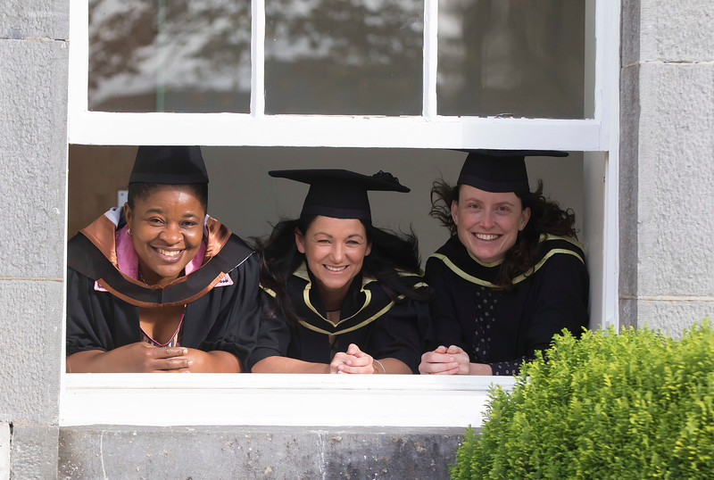 28/10/2015. FREE TO USE IMAGE. WIT (Waterford Institute of Technology) conferring ceremony at WIT College Street Campus, Waterford. Pictured are Quinta Eshu, Waterford who graduated Bachelor of Arts (Hons) Social Care,  Ann Croke, Waterford and Eavan Dowling, Kilkenny who graduated MA in Social Studies. Picture: Patrick Browne