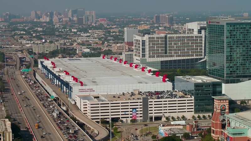 Aerial George Brown Convention Center Houston Texas 4k