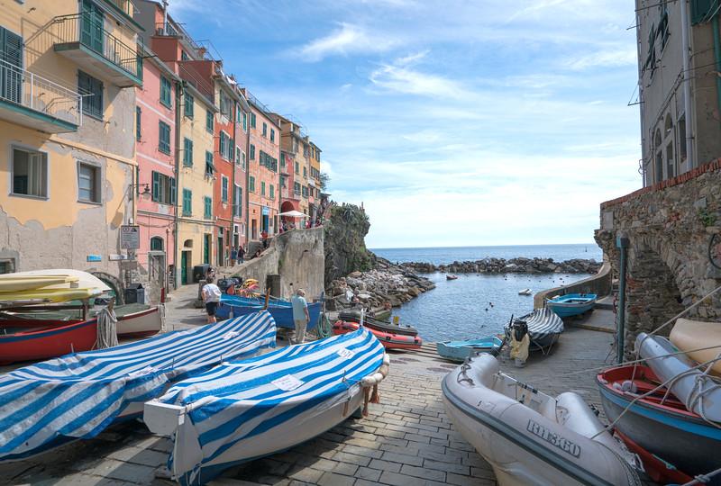 Boats in Riomaggiore Harbor, Cinque Terre, Italy