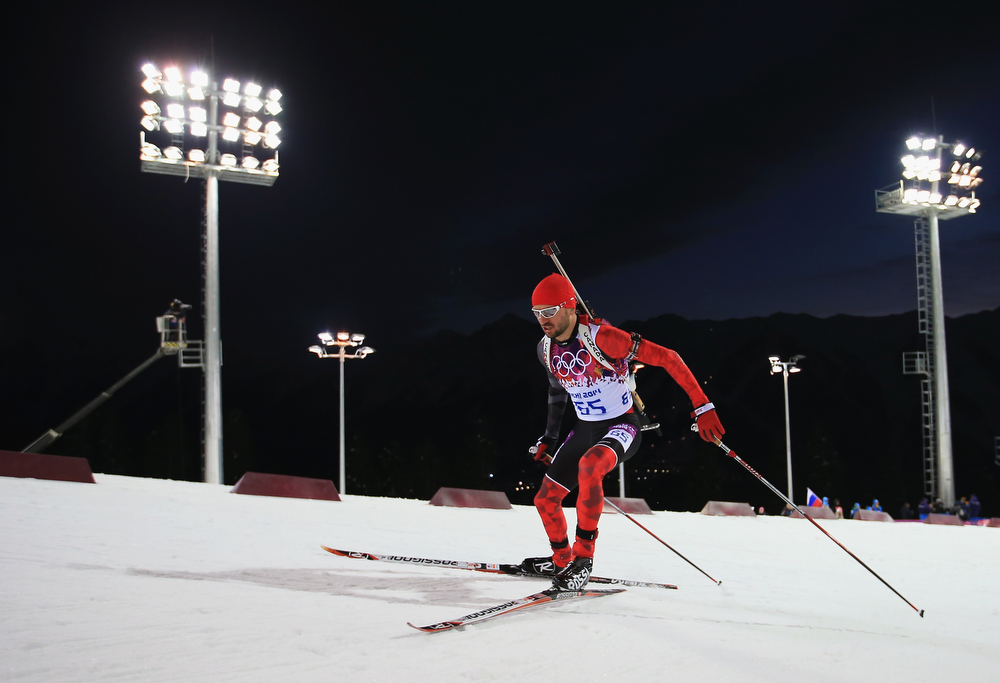 . Jean-Philippe le Guellec of Canada competes in the Men\'s Sprint 10 km during day one of the Sochi 2014 Winter Olympics at Laura Cross-country Ski & Biathlon Center on February 8, 2014 in Sochi, Russia.  (Photo by Richard Heathcote/Getty Images)