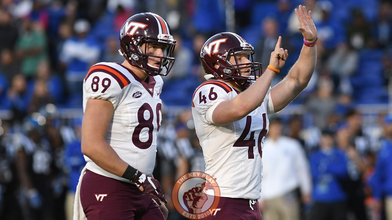Virginia Tech kicker Joey Slye (46) celebrates his successful field goal attempt which would end up being the winning points. (Michael Shroyer/TheKeyPlay.com)